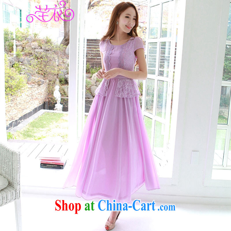 Constitution, 2015 XL Women's Summer Edition new, cultivating sweet graphics thin short-sleeved lace large snow woven skirts thick mm elegant snow-woven garments purple skirt large XL 4 160 - 175 jack