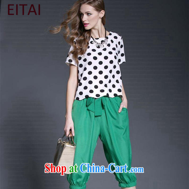 The EITAI Code women summer 2015 and indeed increase the Point t-shirt + green 7 pants Kit picture color 2 XL