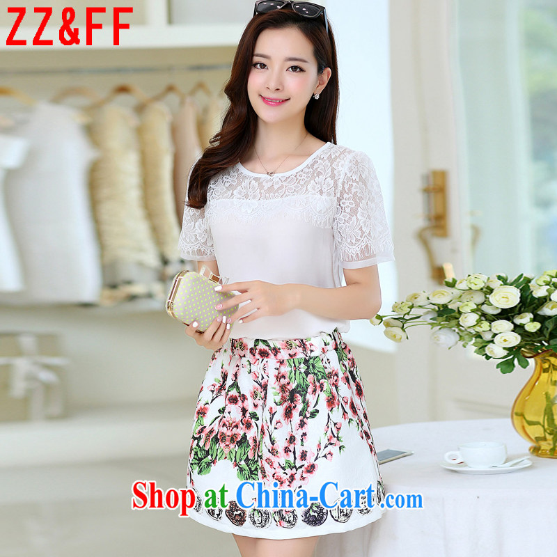 ZZ _FF 2015 summer new, larger female decoration, lace dresses girls T-shirt skirt Kit female LYQ 6080 white XXXXL