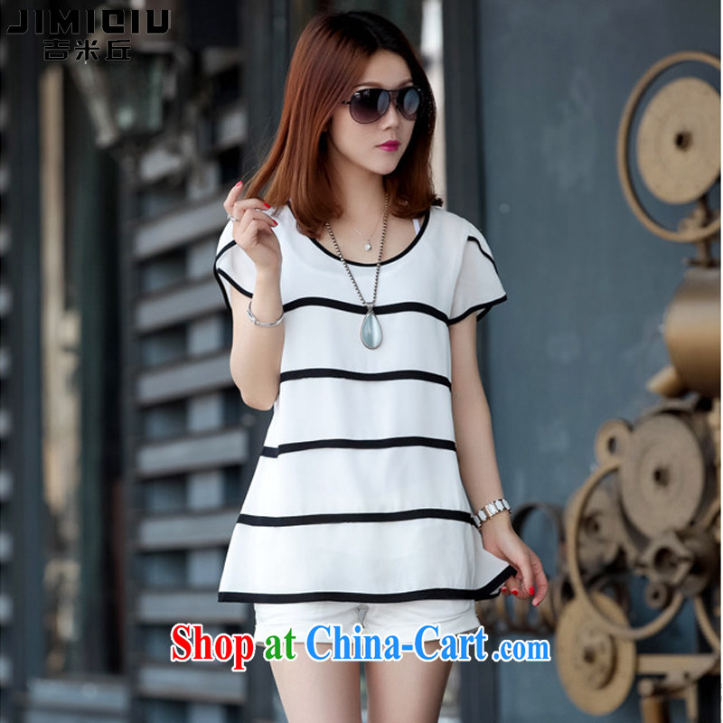 Jimmy Hill 2015 summer new, female Korean Beauty graphics thin loose the fat XL striped shirt T female short-sleeve snow woven shirts female F 1511 white XXXXXL