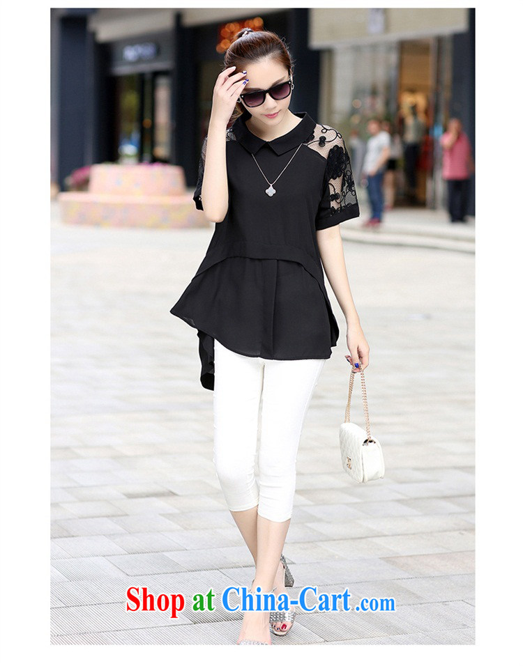 2015 spring and summer new loose snow woven shirts lace shirt, long, short-sleeved T-shirt the code 6117 shirt black XXL pictures, price, brand platters! Elections are good character, the national distribution, so why buy now enjoy more preferential! Health