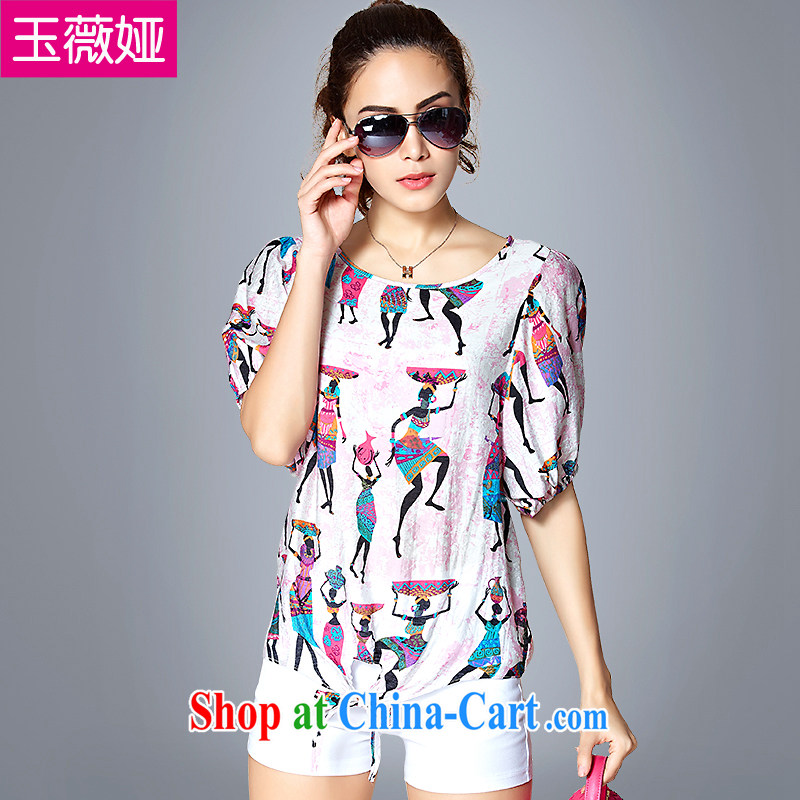 Ms Audrey EU Yuet-yu Julia large code female summer cotton short-sleeved stamp T-shirt girl loose video thin stamp shirt Y 66,012 stamp color 4 XL _160 - 180 _ jack