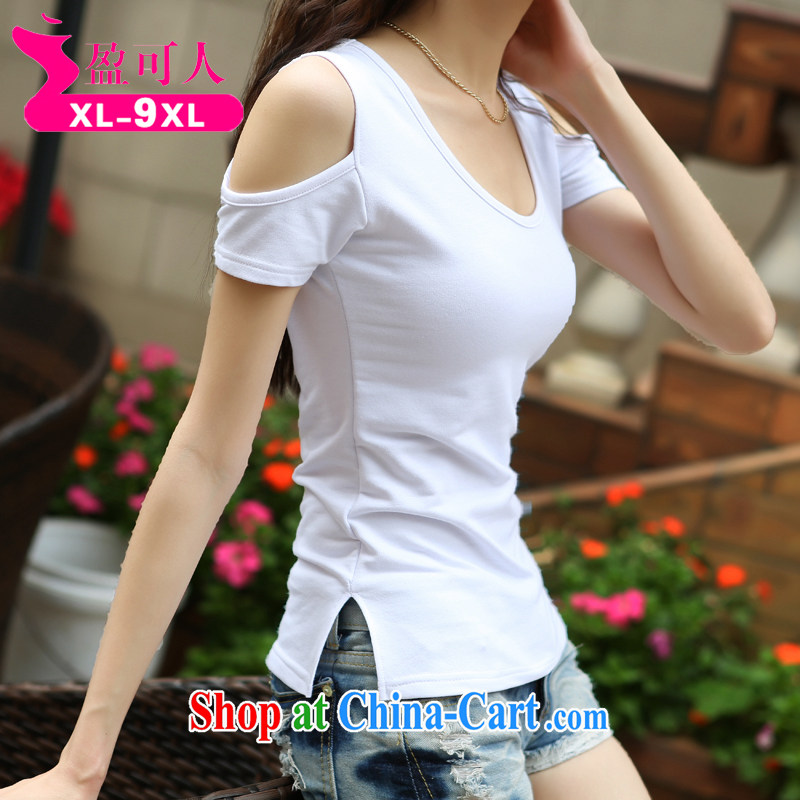 surplus to the summer, female new round-collar short-sleeve your shoulders and feel T pension thick MM summer lace stitching white XXXL
