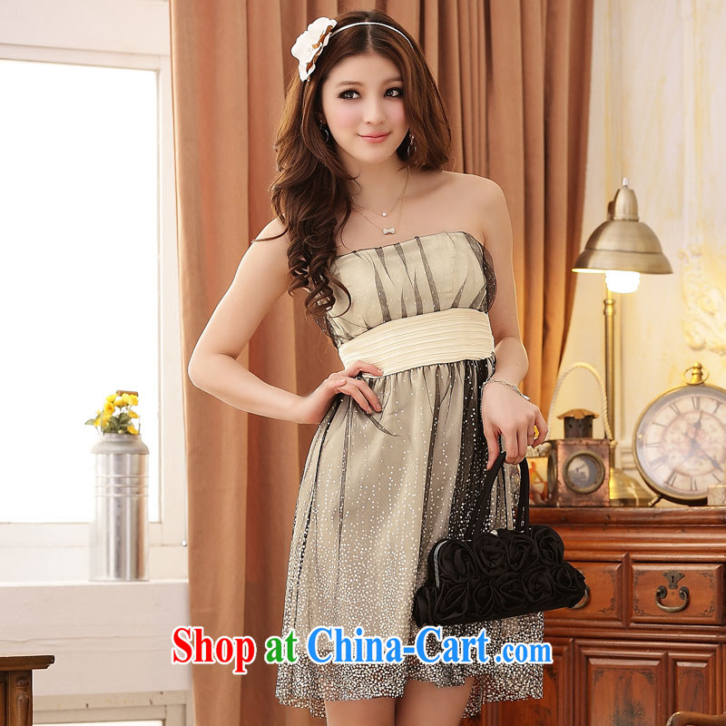 The package mail 2015 summer new stylish sexy mini-super star network by the waist at the chest Princess dress dresses (the stealth shoulder strap) champagne color XXXL