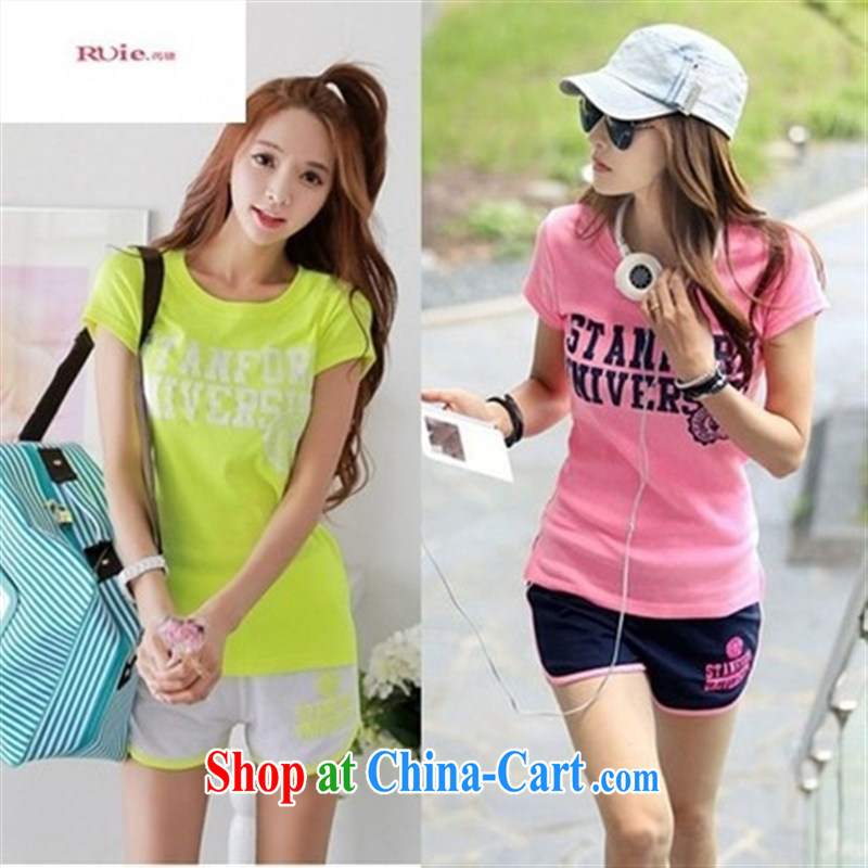 Health Concerns dress _ 2015 new summer fashion Ms. Korean loose short-sleeved T-shirt larger leisure morning run shorts sportswear pink T-shirt Navy shorts XL