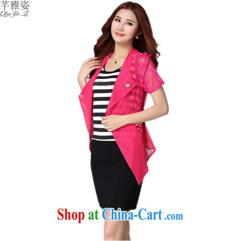 The payment is the XL women dresses 2015 new streaks vest solid skirt short-sleeve lace shawl suit two piece set with short skirts of red 4 XL approximately 170 - 200 jack