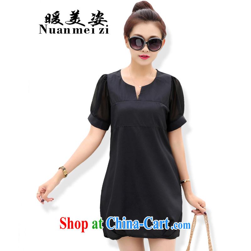 Warm beauty summer 2015 new dresses thick mm larger female Korean video thin cotton the dresses women 6673 black XXL