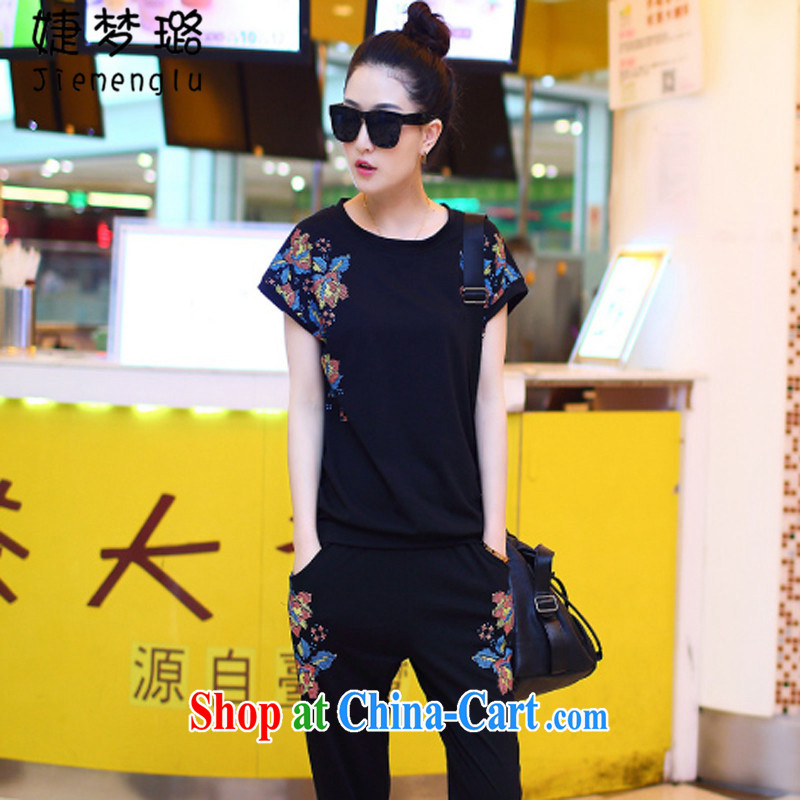 With dream like summer 2015 new larger female bat T-shirt package short-sleeved short T shirts female Korean fashion casual wear female J 1983 black XXXXL