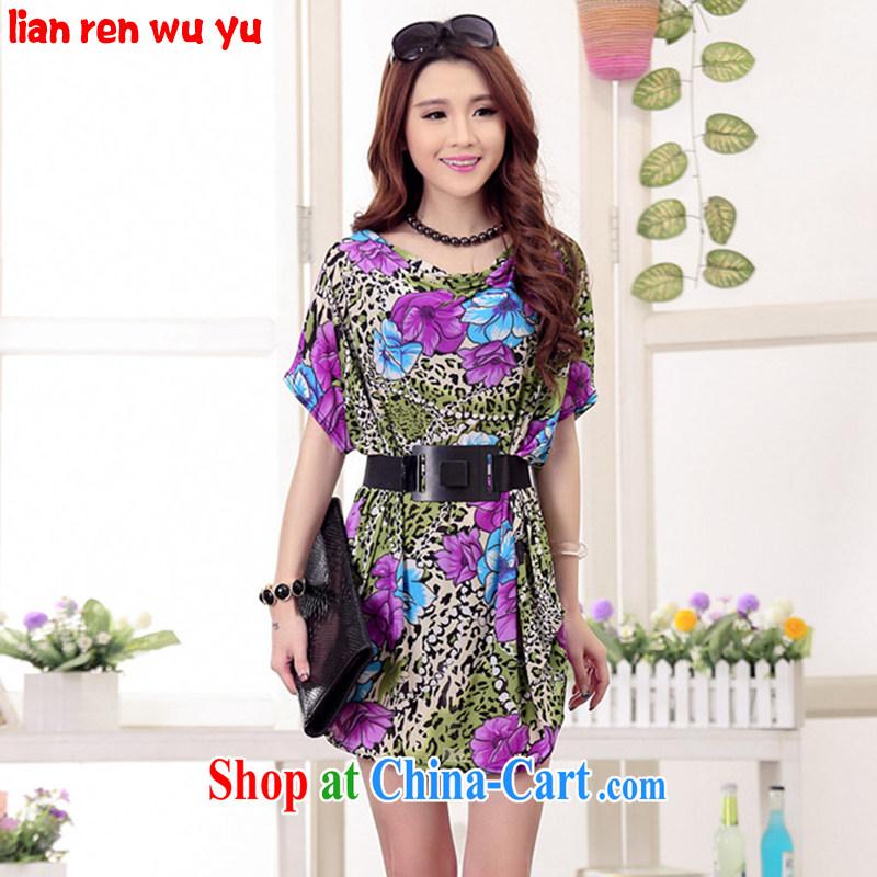LRWY 2015 summer new Korean flower stamp the code short-sleeved dresses, older Ultra-liberal bat sleeves, Leopard skirts maternity dress suit _the belt_ are codes - For 100 jack - 200 catties MM