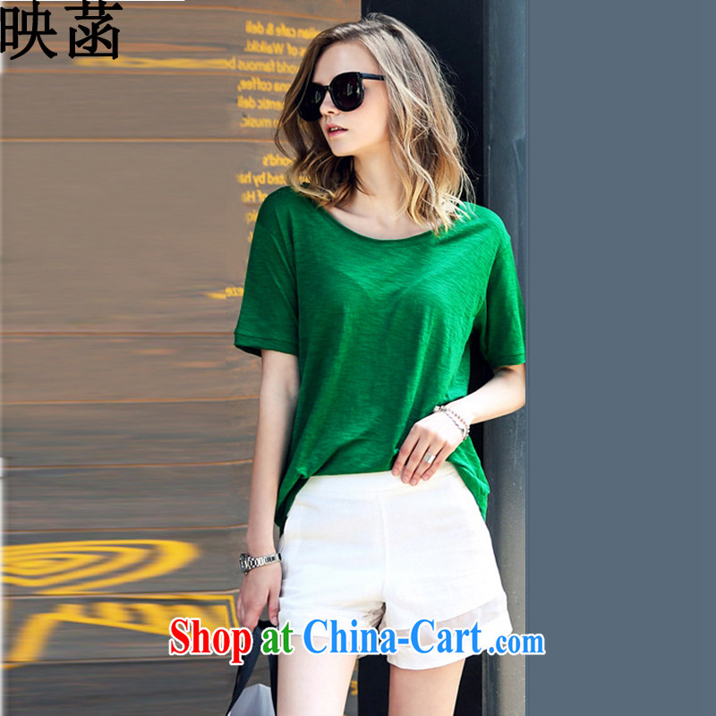 Based on the 2015 summer NEW GRAPHICS thin thick mm larger female stylish short-sleeve and indeed increase shorts sportswear girls green XXL
