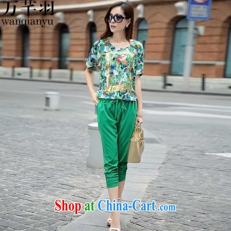 10,000 Constitution Haneda summer 2015 new Korean XL Leisure package 7 pants + short-sleeved T-shirt girl TX 610 green XXXL