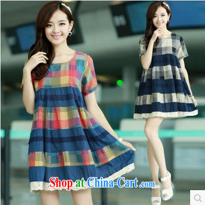 Political poetry summer 2015 new, larger dresses Korean version thick MM short-sleeved checkered loose the cotton the pregnant women dress in long red M