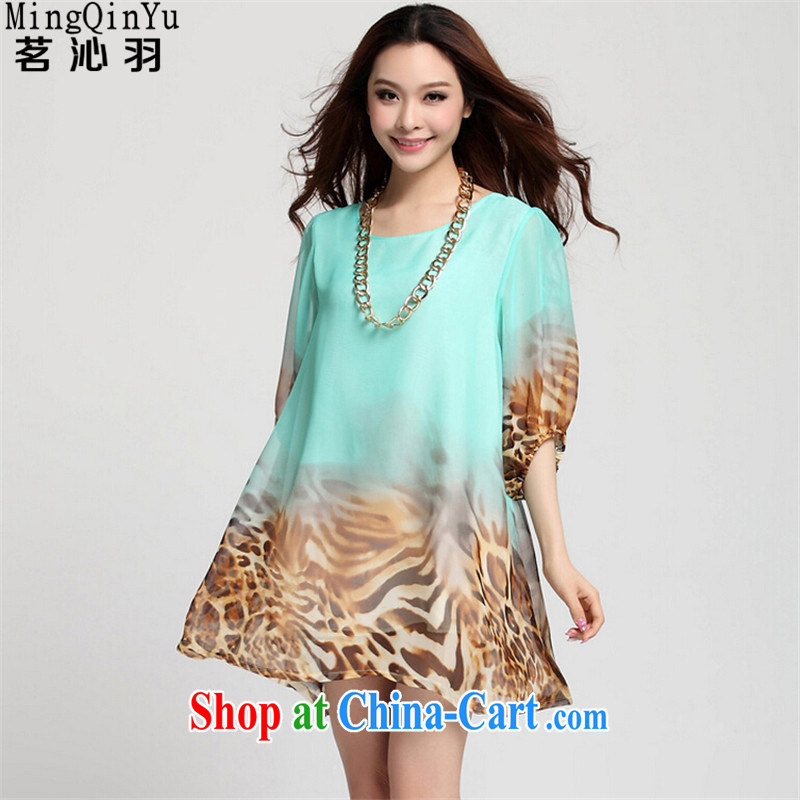 tea wafted Yu 2015 summer new women 5 the lantern sleeve loose Leopard snow woven large code dress 72,001 Leopard mint green XXXL