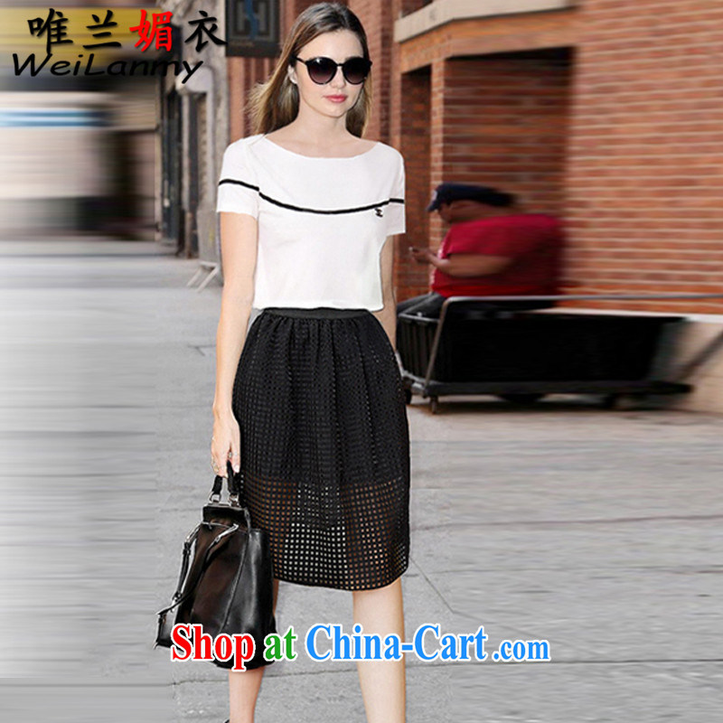 Only LAN Mei Yi 2015 new Europe the code package thick mm video thin a field and white T pension double Openwork skirt Kit 3739 white XL