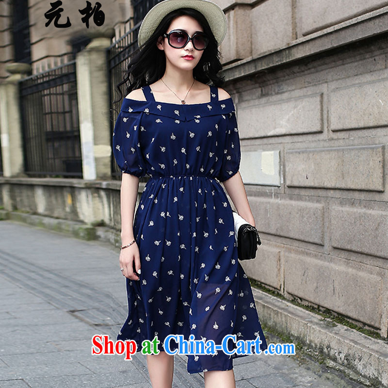 Yuan Bo summer fashion in Europe and new, larger female bare shoulders stamp long skirt thick MM the waist graphics thin dress dark blue 1612 2 XL 135 - 145 Jack left and right