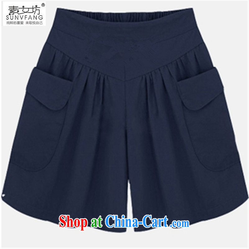 Pixel girl workshop summer 2015 new Europe loose shorts elasticated waist and indeed increase code 200 Jack thick MM graphics thin 100 ground hot pants summer 5566 deep blue 5 XL recommendations 175 - 215 jack