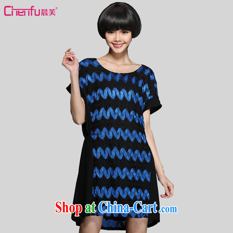 Morning would be the fat increase, female 2015 summer New Beauty video thin lace hit the color code dress mm thick waves hit color lace dress black 5 XL _180 - 200 _ jack