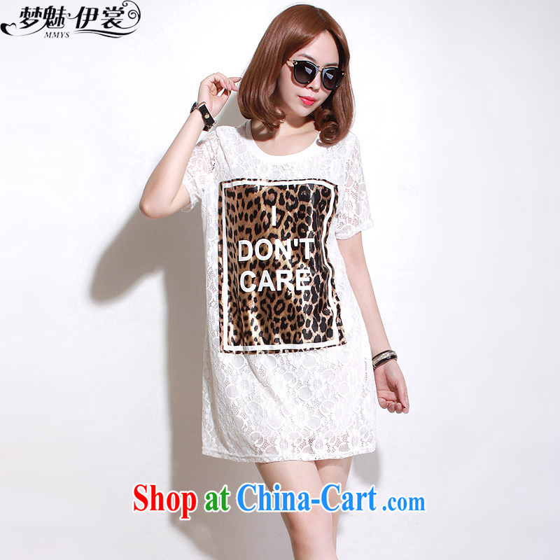 Let me clear the Advisory Committee Summer in Europe and loose video thin and thick XL women mm thick Leopard, long lace short sleeve double-yi skirt white loose all code