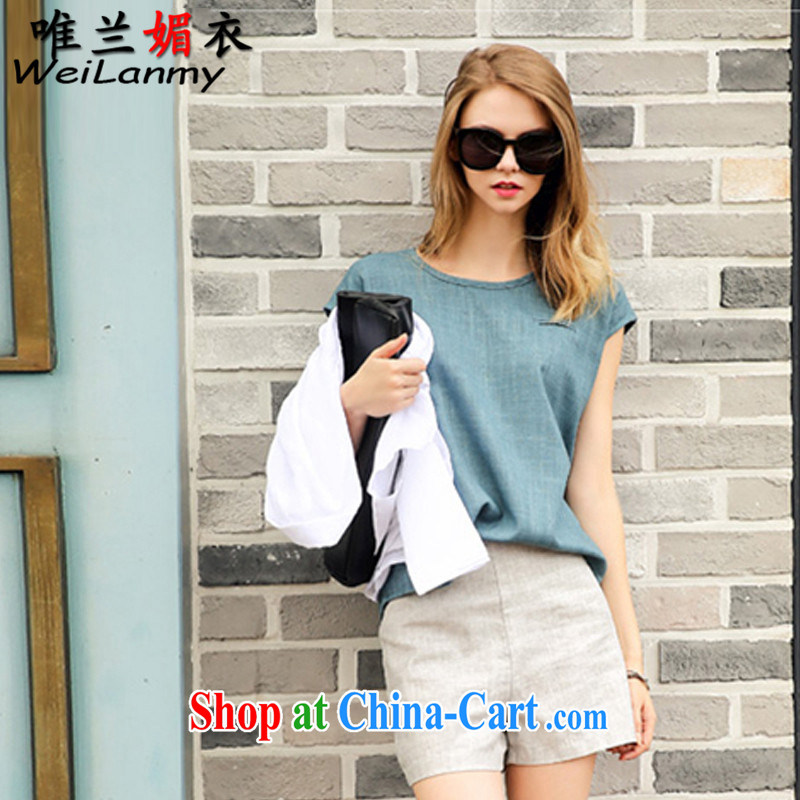 Only Blue Mei Yi 2015 summer new cotton the leisure the Code women round-collar short-sleeve shirt T raised waist graphics thin shorts Kit 8669 Peacock Blue + Gray shorts L