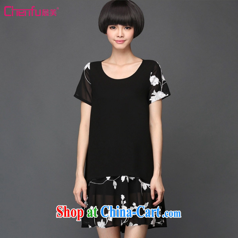 Morning would be 2015 summer New, and indeed increase, female temperament check take loose snow woven short-sleeved dress mm thick collision color embroidered leave of two garment black 5 XL (180 - 200 ) jack