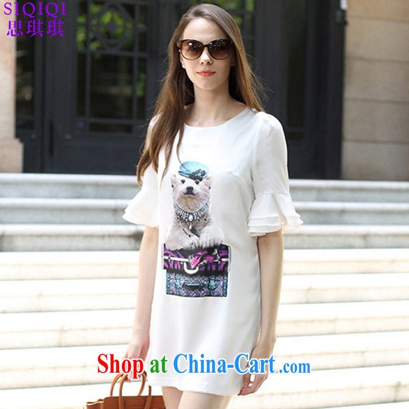 The Qi Qi _SIQIQI_ 2015 summer new lovely stamp duty has been the loose white dresses LYQ 1211 white XXL