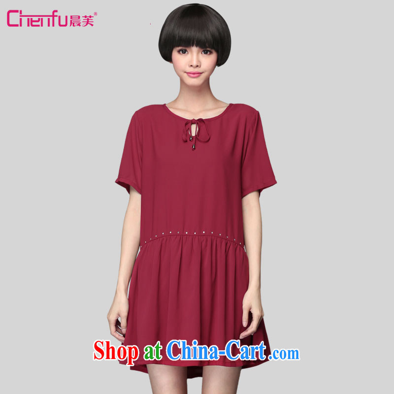 Morning would be 2015 summer New, and indeed increase, female hot drill Sau San video thin short-sleeved snow woven dresses 200 Jack mm thick loose snow woven dresses wine red 5 XL (180 - 200 ) jack