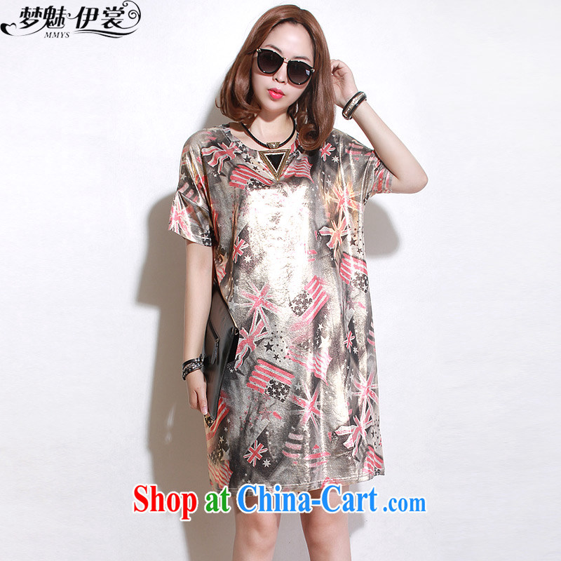 Let me clear the Advisory Committee summer wear loose in Europe and America graphics thin and thick XL women mm thick, long, stamp duty T shirt short-sleeved suits skirt gold loose all code
