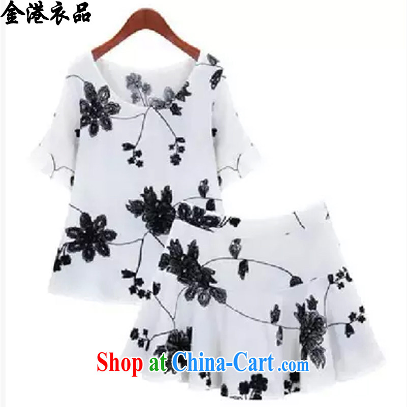 Kim Hong Kong Yi, 2015 Korean summer is the XL women mm thick shorts dresses thick sister beauty graphics thin two-piece dress children 6163 white XXXXXL