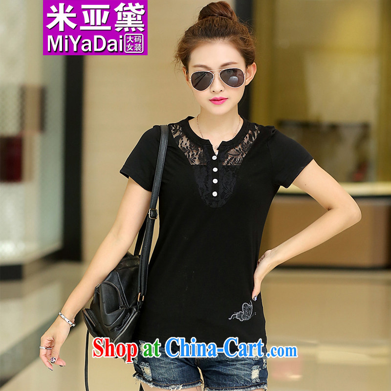 The Diane larger female summer mm thick short-sleeved T-shirt Han version graphics thin and thick 200 Jack lace stitching the code Solid T-shirt female black L _recommendations 85 - 100 jack_