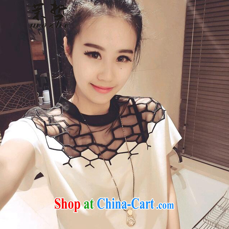 Energy-chul and indeed increase code snow woven shirts thick mm summer wear thick sister female fat woman short-sleeved shirt T clothes on white XXL