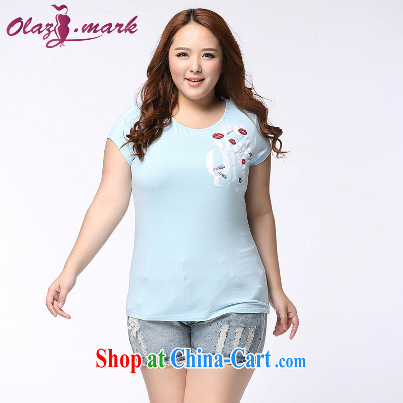 The Erez mark summer, new 2015 Korean version of the greater code female summer short-sleeved shirt T mm thick and indeed increase graphics thin round-collar T-shirt 1151 water of the lake blue XXXL _recommended chest of 126 cm_