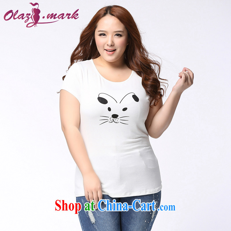The Erez mark on the MM code female summer new, short-sleeved shirt T Korea and indeed increase graphics thin round-collar T-shirt 1155 white XXXL _recommended chest of 126 cm_