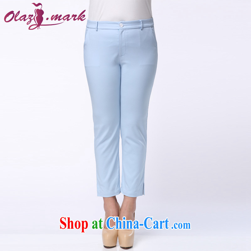 The Erez mark summer 2015 new larger female 9 pants female Korean thick mm video thin pants 4032 Lake blue XXL _waist 90 cm left and right_