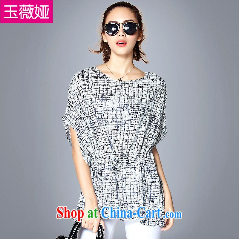 Ms Audrey EU Yuet-Julia larger female Summer Snow stamp duty woven shirt short-sleeved video thin-waist dresses girls T-shirt Y 66,010 black on white, blue, 4 XL _160 - 180 _ jack