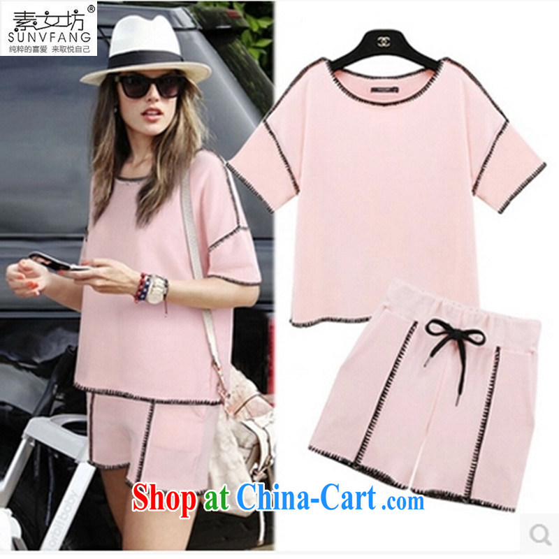 Pixel girl workshop summer 2015 stylish relaxed comfortable and indeed increase 200 Jack thick MM sweater girls sports _ Leisure shorts package Women 5567 pink 5 XL recommendations 175 - 215 jack