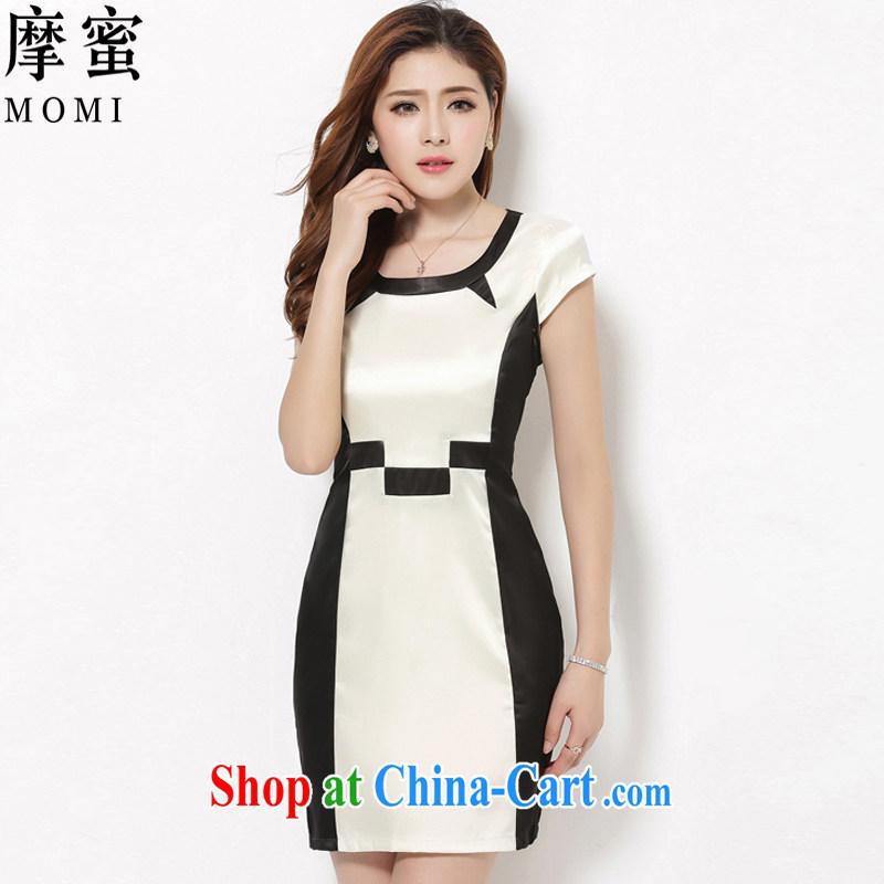 Moses honey larger female summer 2015 short-sleeved stitching stamp dress skirt damask DM 26 white XXXL