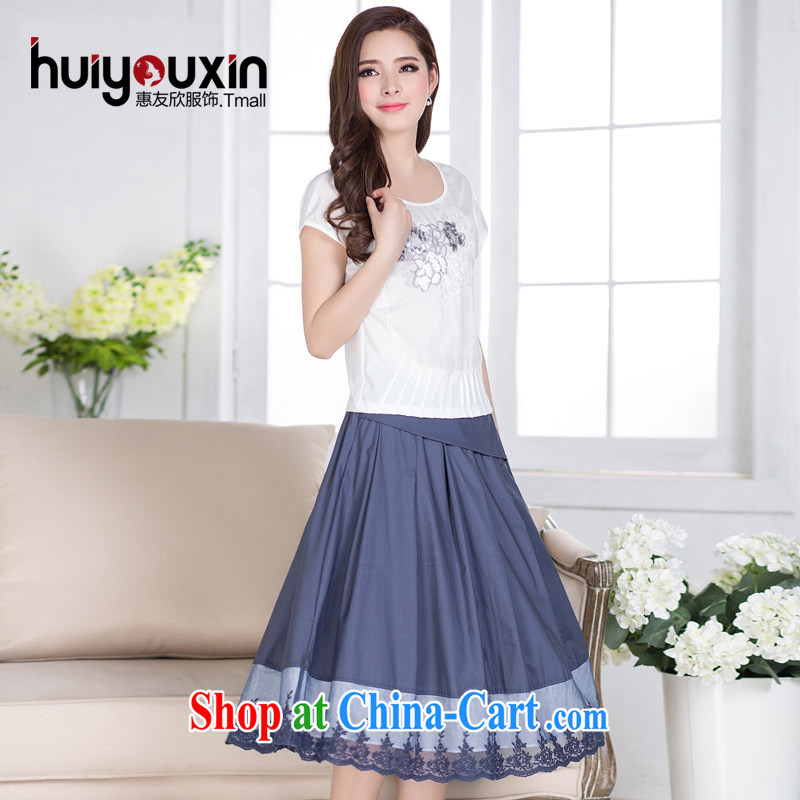 Friends Benefit from favorable short-sleeved cotton the dresses summer 2015 new, larger female Art Nouveau embroidery two-piece dress lace Kit skirt blue 3 XL