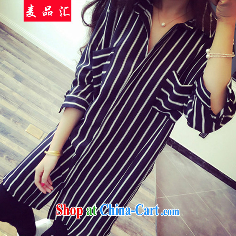 Mr MAK, sinks and indeed XL women mm thick summer in 2015 long snow woven shirts 200 Jack thick sister stripes shirt 0840 black 5 XL