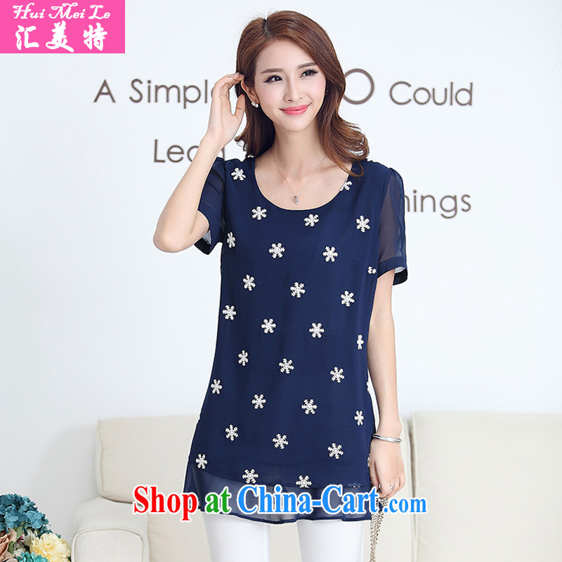 Meeting the king, female summer short-sleeve snow woven shirts and indeed intensify, thick, thin. T-shirt, dark blue 4 XL
