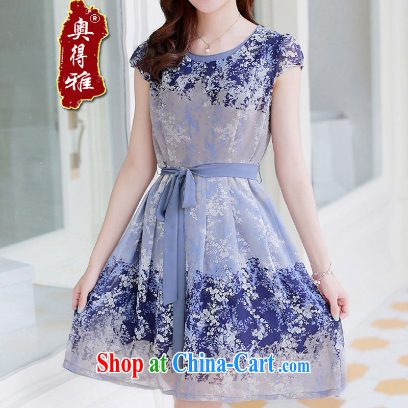 A 2015, spring and summer new short-sleeved MOM load the code stamp floral snow woven dresses picture color 4 XL