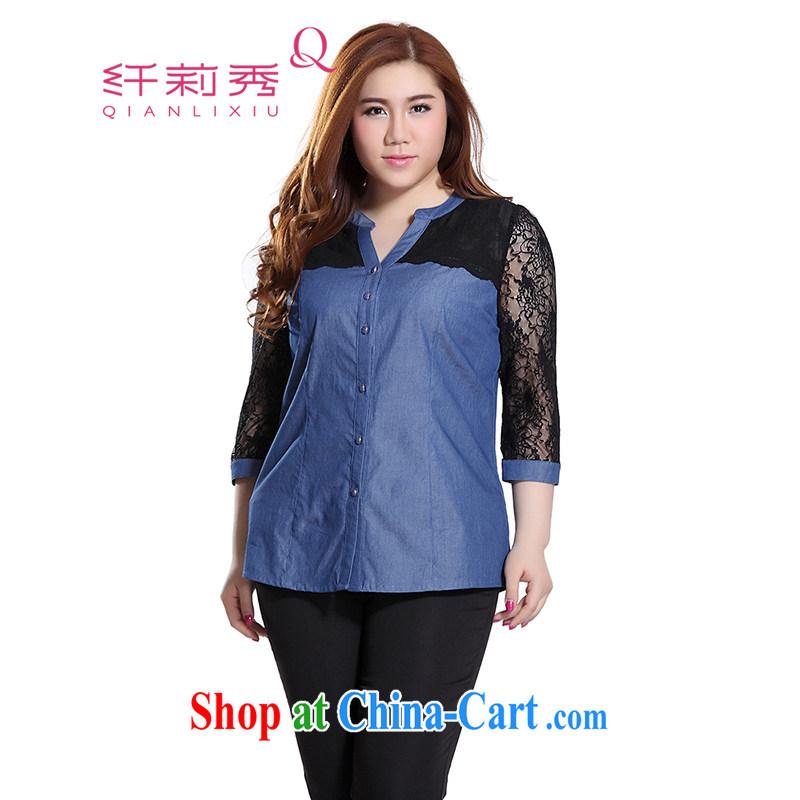 Slim LI Sau 2015 summer new, larger female-V-neck lace stitching cowboy 7 sub-cuff OL trend denim shirt Q 7560 light blue 3 XL