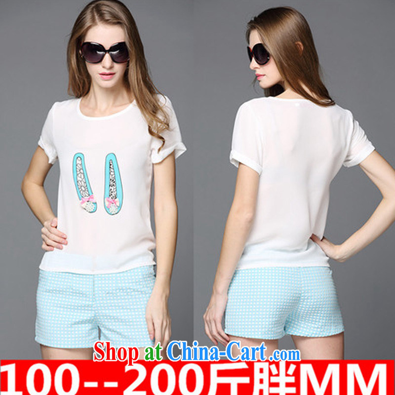 Diane of 2015 vines into the fat XL female Jack mm thick summer Korean video thin short-sleeved T-shirt thick sister shorts package picture color XXXXL