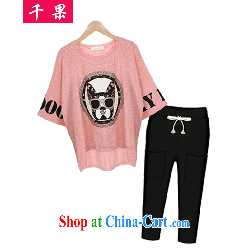 1000 fruit in Europe summer 2015 new emphasis on the younger sister, female and fat and loose video thin stamp bat shirt + 7 pants two-part kit 233 pink T-shirt + 7 pants 5 XL