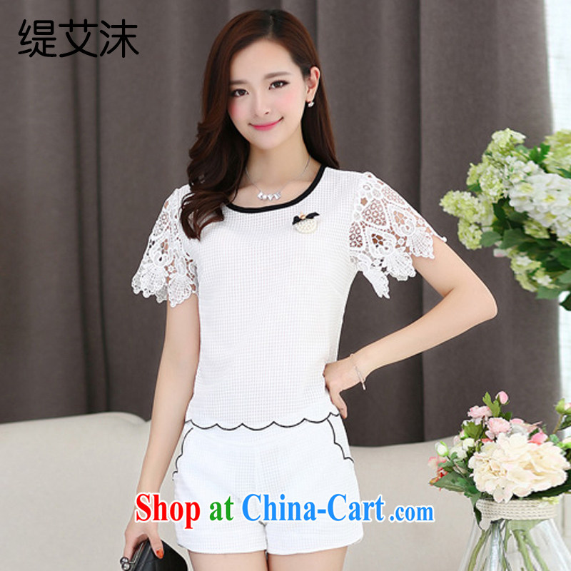 As the bubbles and Leisure Korean version small Hong Kong Wind name Yuan stylish package girls Summer students Two-piece sweet lace sleeveless 805 DP white L
