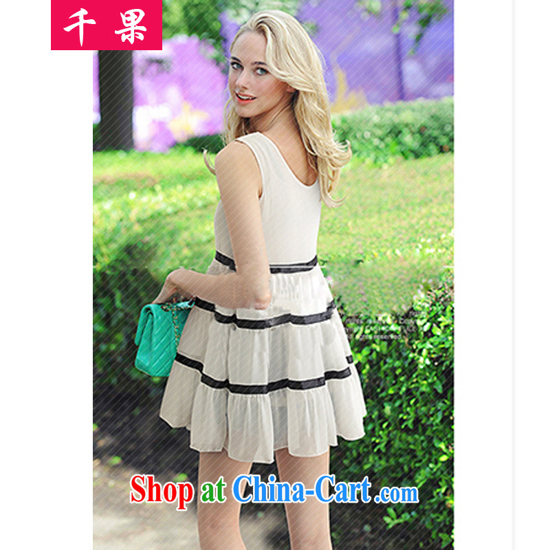 1000 fruit 2015 summer Korean version of the greater code female loose video thin sleeveless baby dress thick MM and indeed intensify vest streaks wrinkled dresses 232 white 5 XL