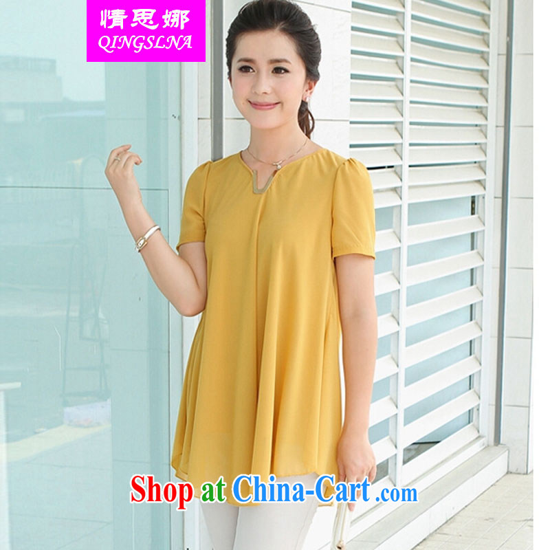 The love of summer 2015 new thick sister relaxed and ventricular hypertrophy, middle-aged female snow T woven shirts V collar short-sleeved snow woven shirts and elegant yellow XXXL
