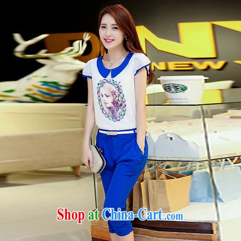 Crystal Kay's summer new Snow woven T-shirt stamp snow woven shirts 7 pants Kit two kits HK 023 Po blue XXL