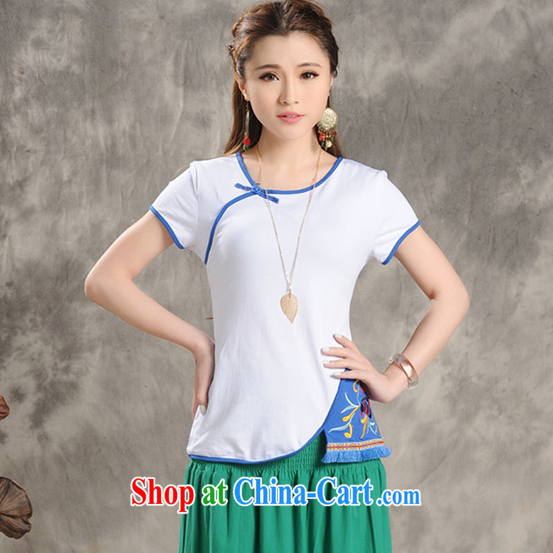 AIDS is tearing apart their swords into plowshares 2015 summer new original ethnic wind women embroidery short sleeve shirt T solid T-shirt beauty larger ladies' t-shirts white 2XL
