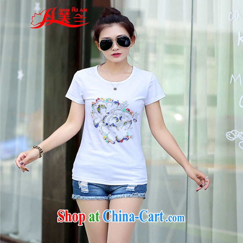 Bin Laden could be estimated (DAN FU AN) 2015 Korean version of the new product video thin loose round-collar short-sleeve larger female T-shirts female white XL (105 - 120 ) jack