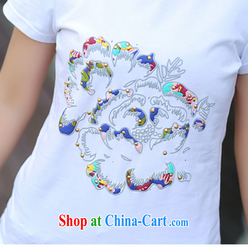 Bin Laden could be estimated (DAN FU AN) 2015 Korean version of the new product video thin loose round-collar short-sleeve larger female T-shirts female white XL (105 - 120 ) jack, bin Laden could be estimated (DAN FU AN), online shopping